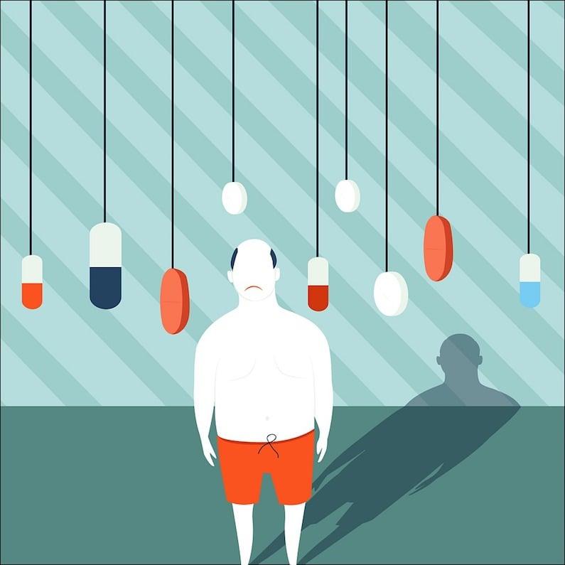 Un uomo circondato da farmaci
